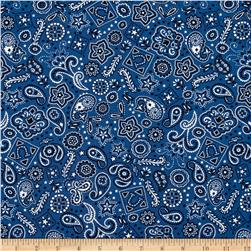 Timeless Treasures Giddy Up Bandana Blue