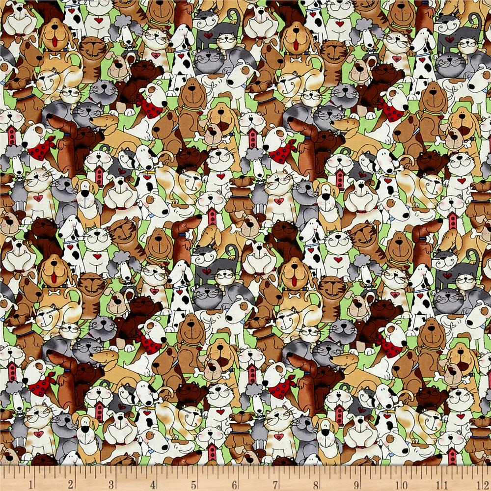 Love is a Four Legged Word Dogs & Cats Stacked Green