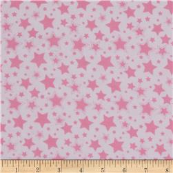 Dreamland Flannel Starry Night White/Pink Carnation Fabric