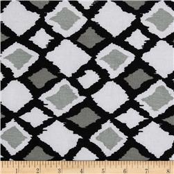 Designer Stretch Jersey Knit Diamonds White/Black
