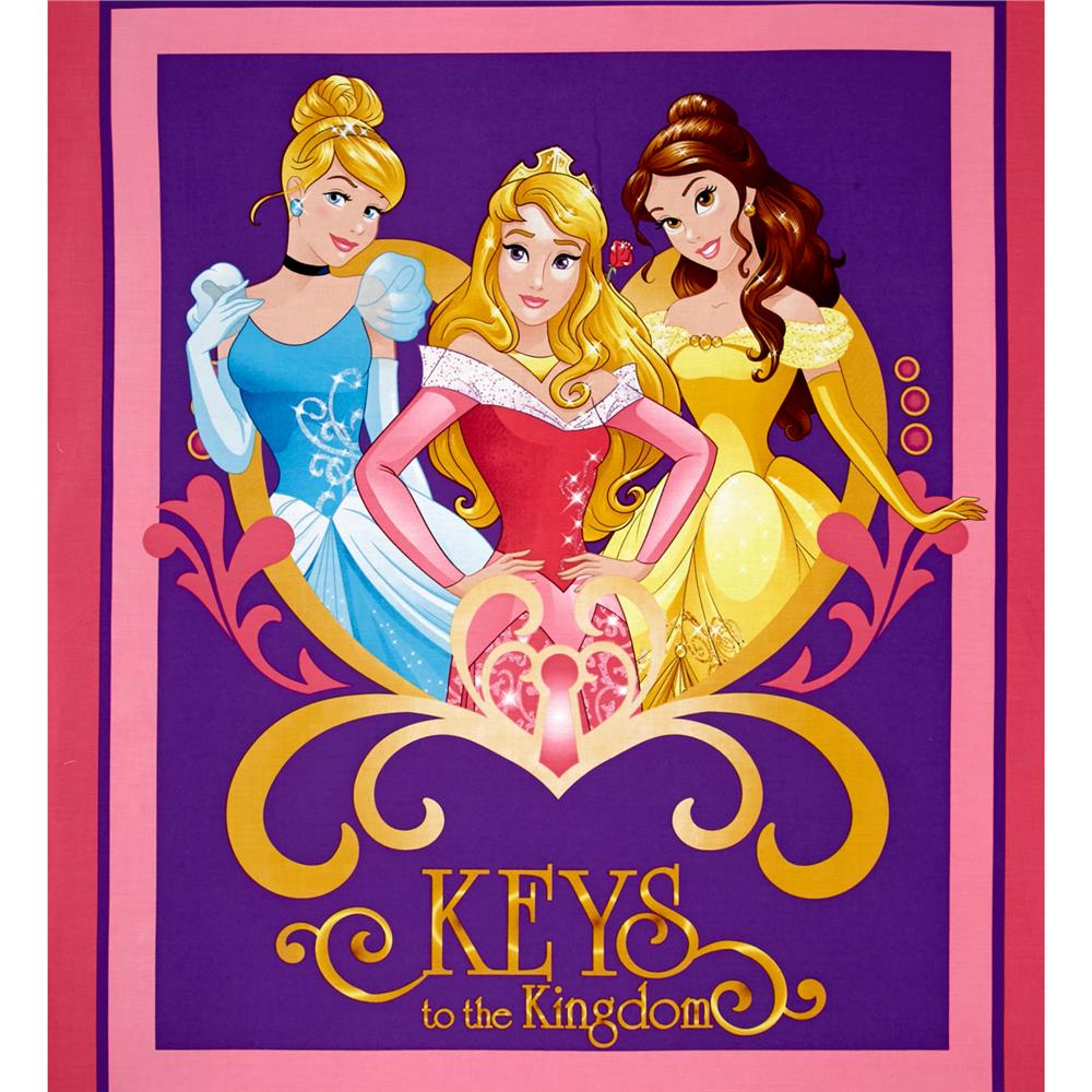 Disney Princess Movie Moments Keys to the Kingdom Panel Pink Fabric