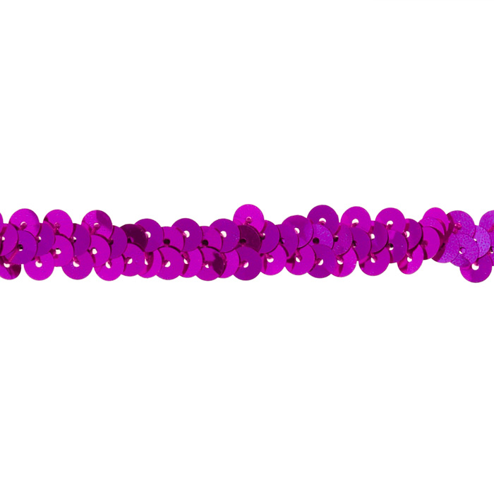 3/8'' Stretch Metallic Sequin Trim Fuchsia