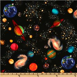 Timeless Treasures Solar System Black Fabric