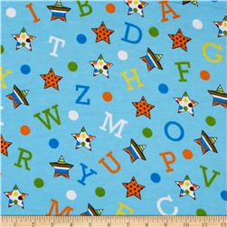 Flannel Tossed Stars, Numbers, Letters Light Blue