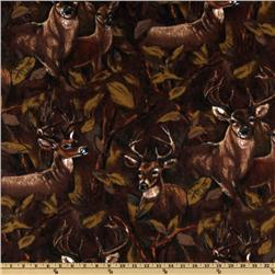 WinterFleece Brown Deer In The Forest Fabric