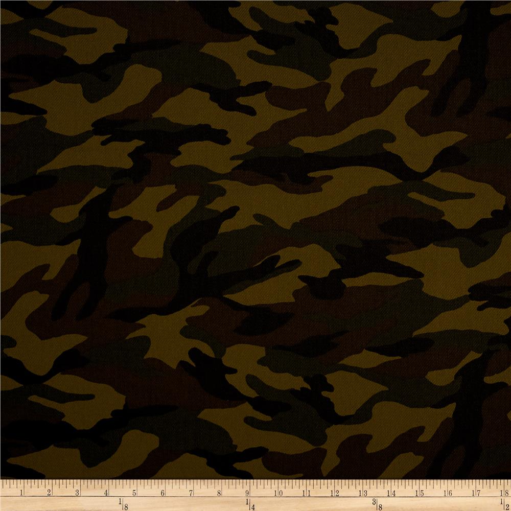 Kaufman 8.8 oz Camo Cotton Printed Twill Olive