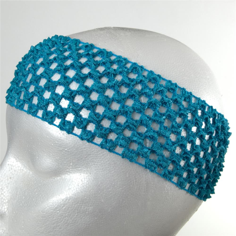 "2 3/4"" Crochet Headband Light Blue"