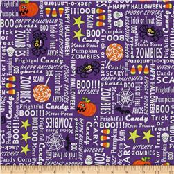 Frightful & Delightful Glow In The Dark Halloween Words Purple