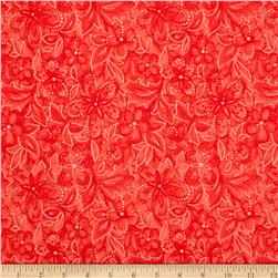 Santa's Here Floral Red