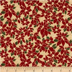 Winter Wishes Poinsettia Metallic Cream/Gold