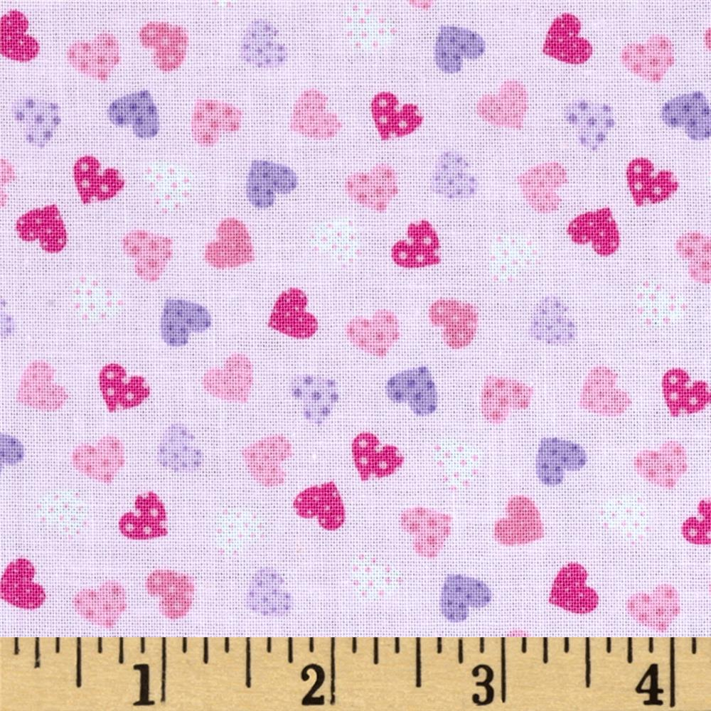 Timeless Treasures Fairy Tale Mini Hearts Pink