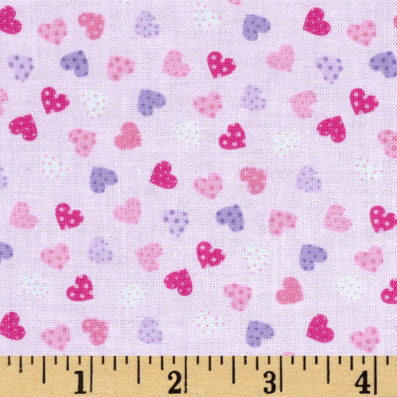 Timeless Treasures Fairy Tale Mini Hearts Pink Fabric
