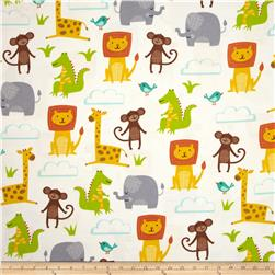 Jungle Jubilee Flannel Animals Allover White