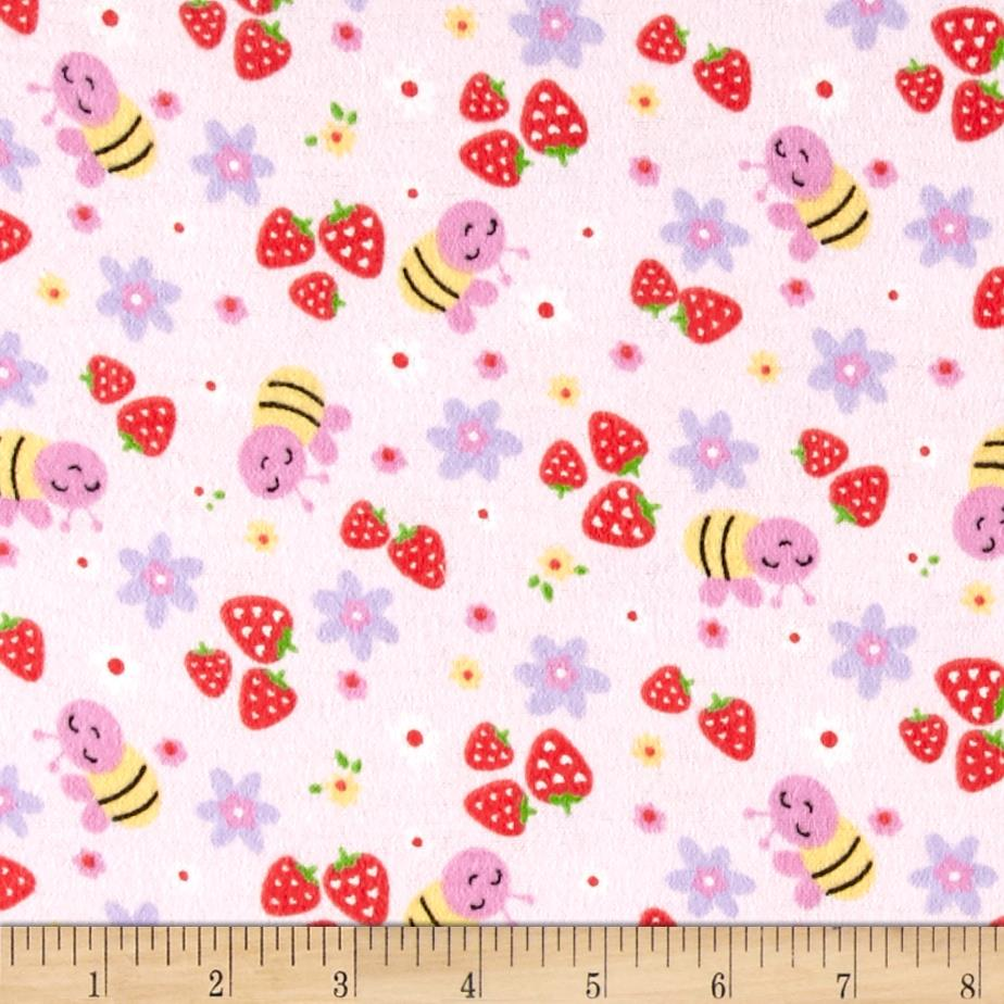 Strawberry Patch Flannel Pink Fabric By The Yard