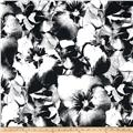 Brazil Stretch ITY Jersey Knit Flowers Black/White