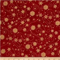 Island Batik Holiday Snowflake Swirl Metallic Red