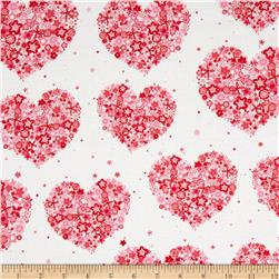 Michael Miller Sweetheart Hearts & Flowers Red