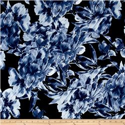 Brazil Stretch ITY Knit Abstract Floral Print Navy/Indigo