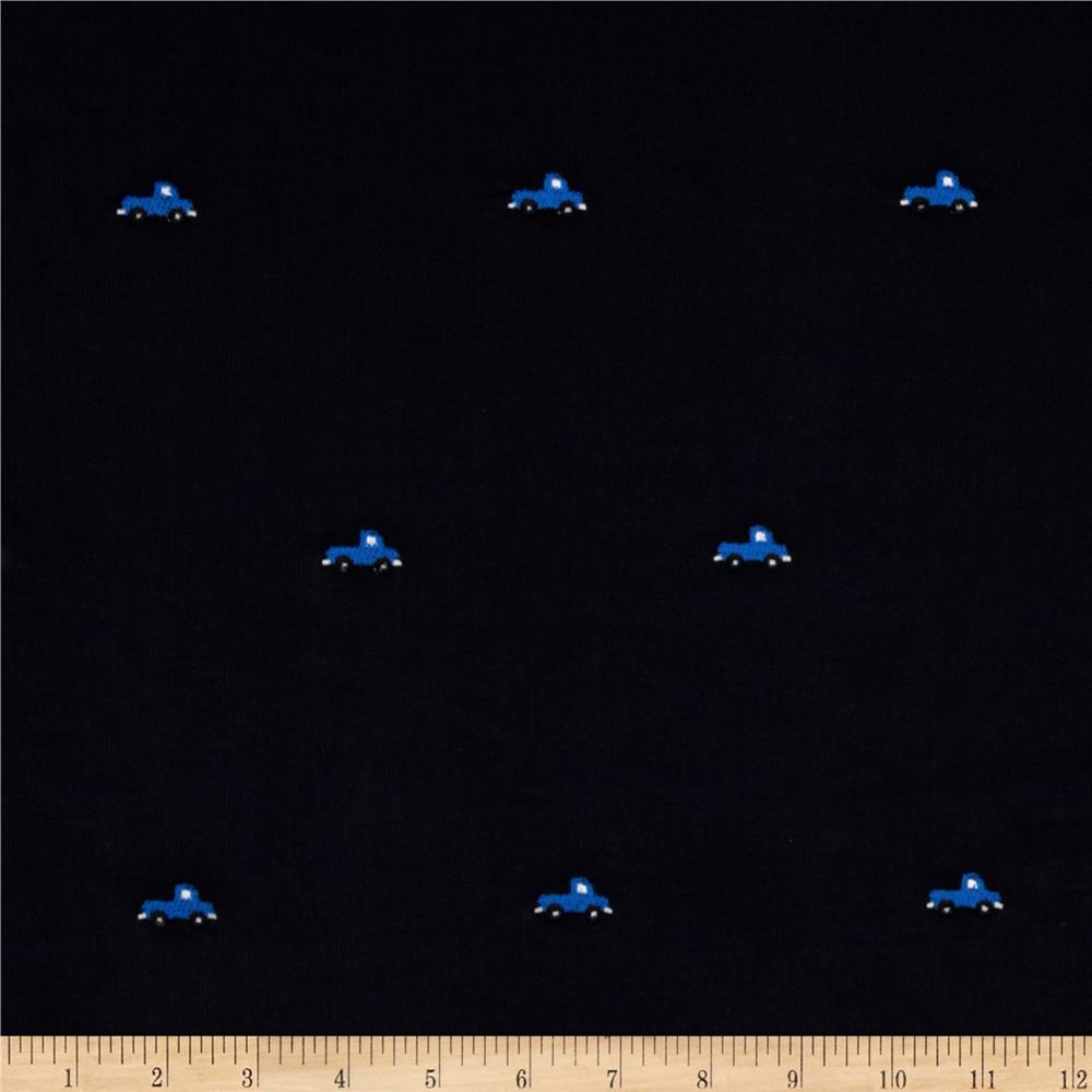 Embroidered 21 Wale Corduroy Truck Navy