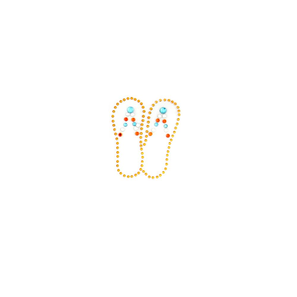 Flip Flops Rhinestud Applique Gold