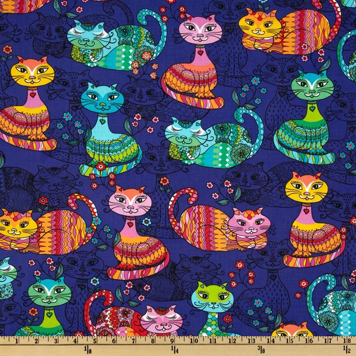 Timeless Treasures Cats Multi/Purple