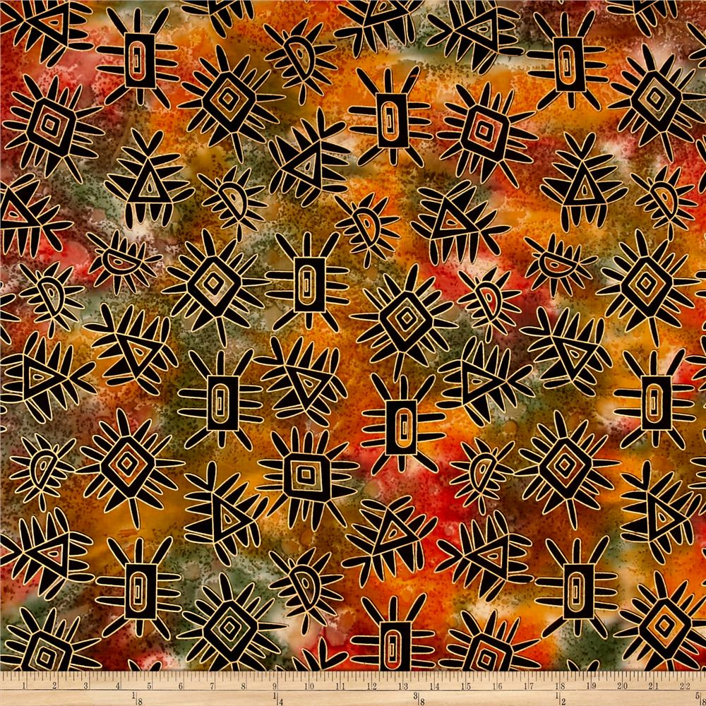 Indian Batik Metallic Abstract Orange/Yellow