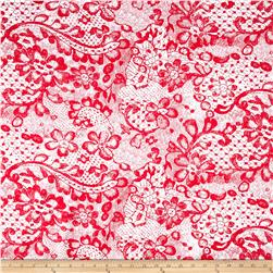 Lace Print Fun Floral Activewear Red/White