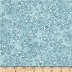 Frolic in the Snow Flannel Snowflakes Blue