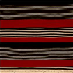 Stretch ITY Jersey Knit Stripe Rust Black Tan