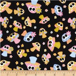 Kitschy Kawaii Mushrooms Black