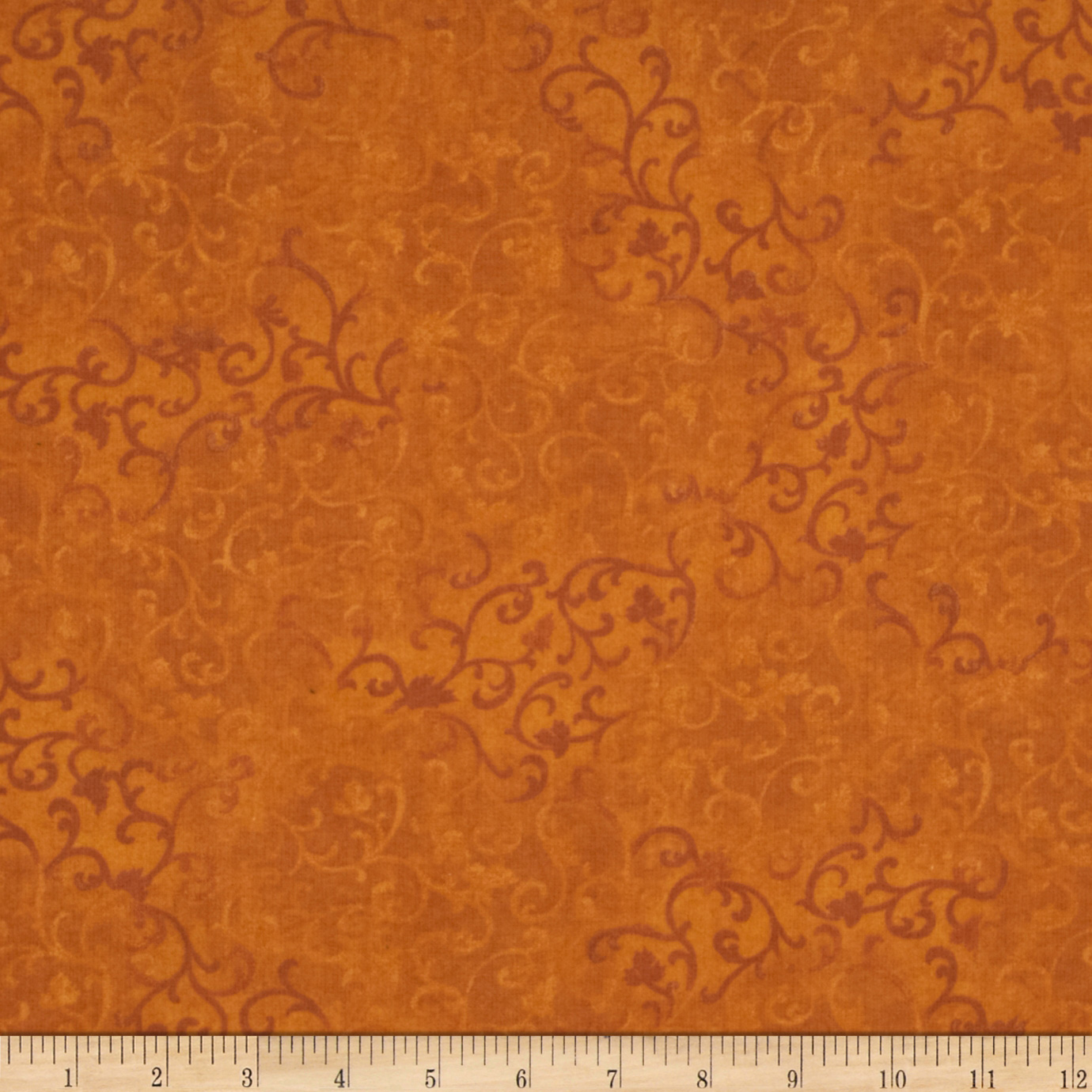 Essentials Flannel Scroll Dark Orange Fabric