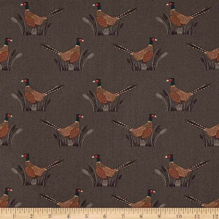 Lewis & Irene Country Life Friendly Pheasant Earth Brown