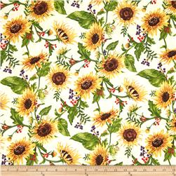 Clothworks Autumn Splendor Sunflowers Cream
