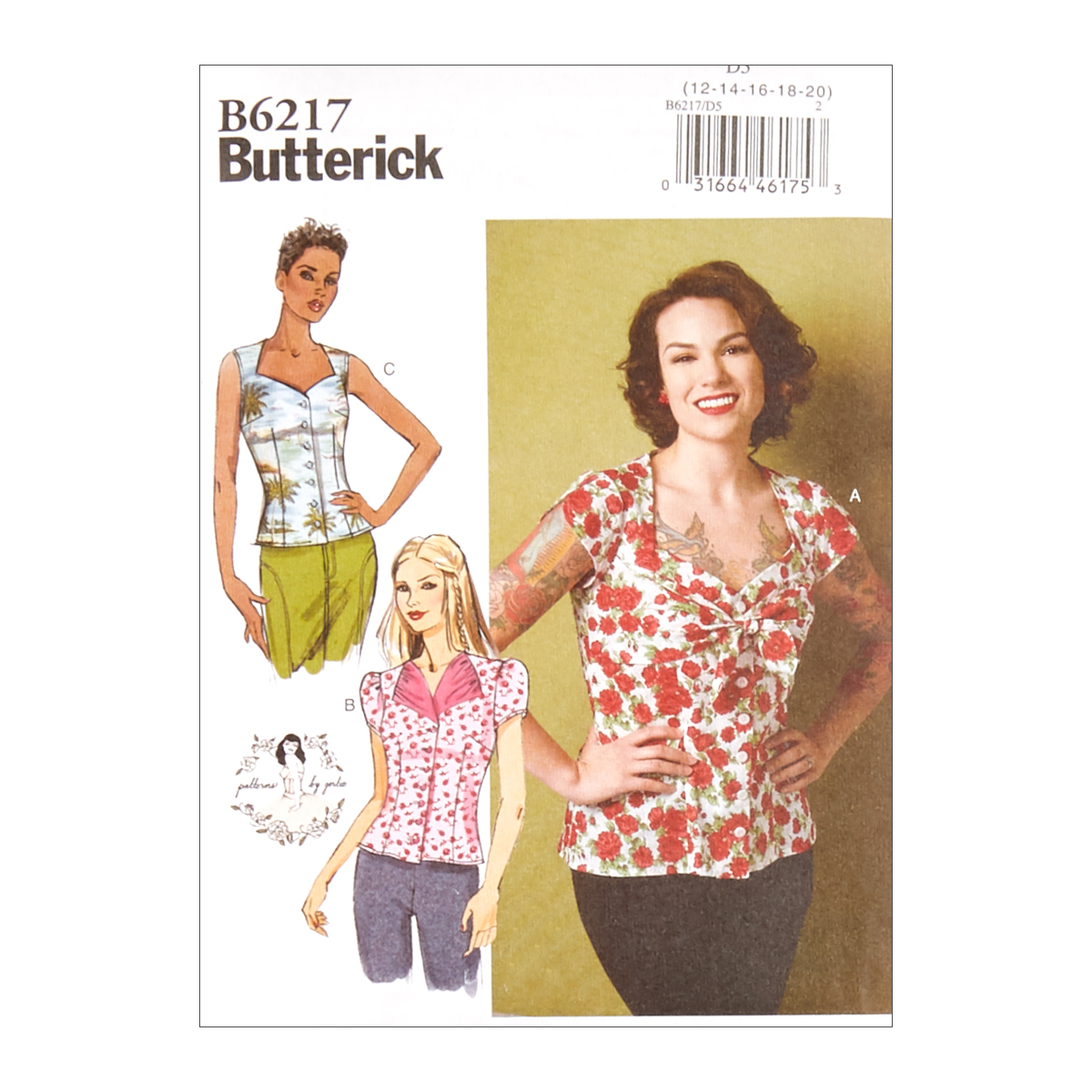 c160d422b82c 1950s Fabrics   Colors in Fashion Butterick B6217 Patterns by Gertie Misses  Blouse D5 Sizes 12