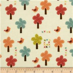 Riley Blake Giraffe Crossing Flannel Giraffe Trees Cream