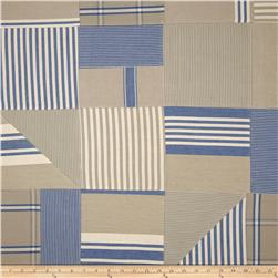 Benartex Home Iona Patchwork Stripe Denim/Khaki