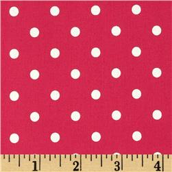 Cotton Stretch Poplin Dots Hot Pink/White Fabric