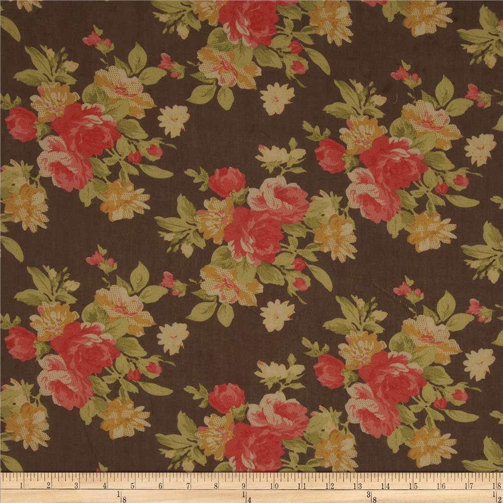 Cotton Lawn Floral Red/Brown