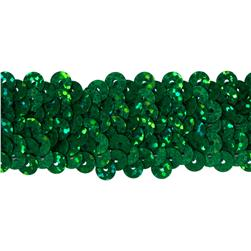 1 1/4'' Metallic Stretch Sequin Trim Green