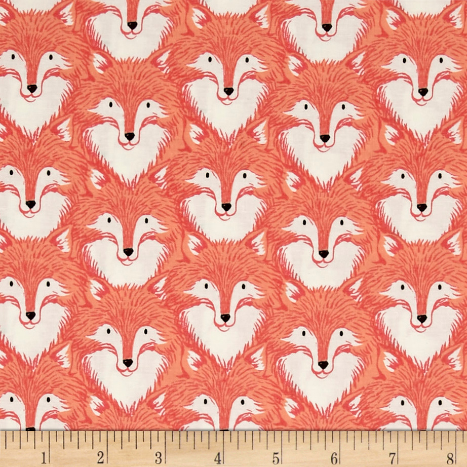 Image of Cotton + Steel Magic Forest Foxes Coral Fabric