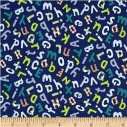 Gingham ABC's Navy Fabric