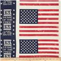 Island Batik Quilted in Honor Batik Patriotic Flags White
