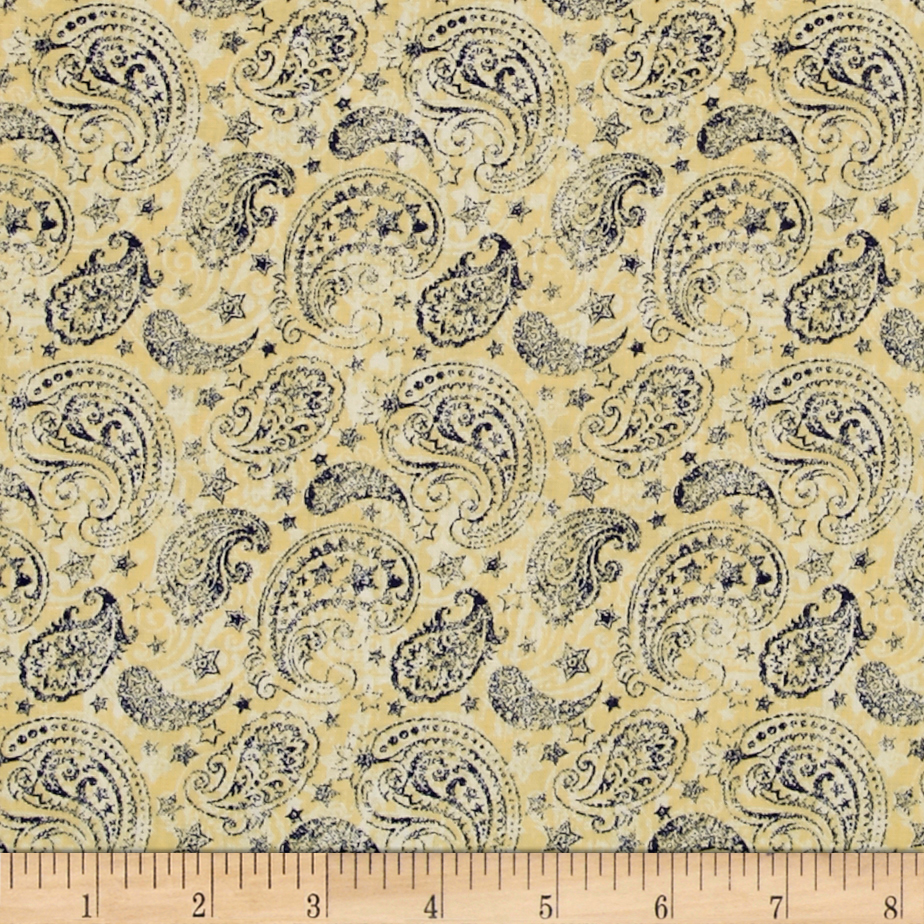 Colors Of Freedom Paisley Ivory Fabric by MM Fab in USA