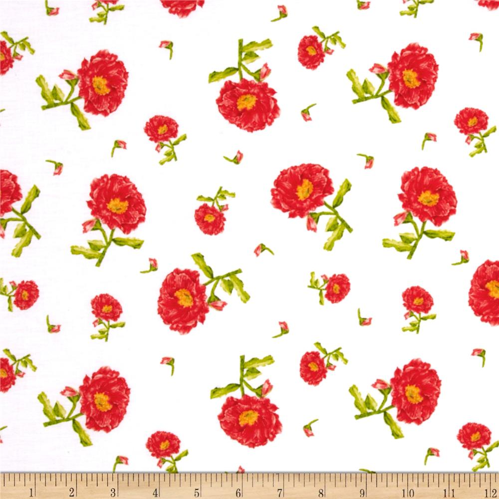 Belle Medium Tossed Poppy White