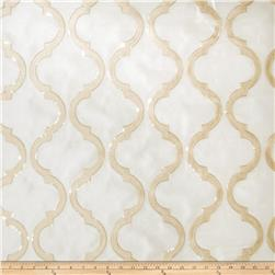 Fabricut Shimmering Lattice Organza Gold Dust