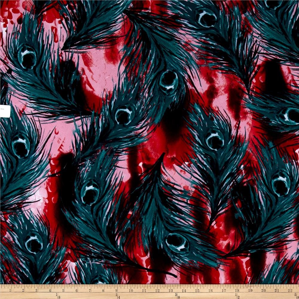Liverpool Double Knit Abstract Feather Pink/Green/Red/Black