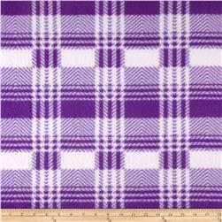 Fleece Print Plaid Purple/White