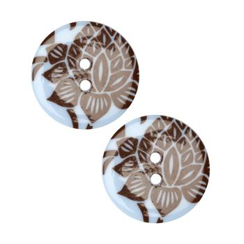 Fashion Button 1'' Damask Blue/Brown