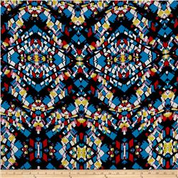 Stained Glass Dobby Crepe Print Navy/Montego