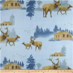 Wildlife Fleece Elk Light Blue/Tan Fabric